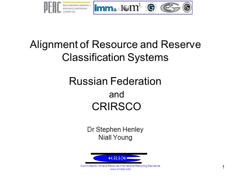 Working group Set up in 2006 by CRIRSCO and GKZ.Managed by PERC on behalf of CRIRSCO.