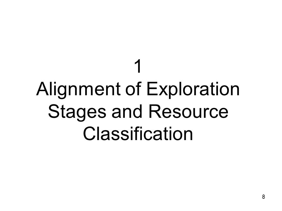 9 Alignment at a Resource Level Ignores (for now) the interaction of resource estimation and technical/economic studies Ignores the issue of deposit complexity (which does not change the classification: it only applies rules to how it is used)