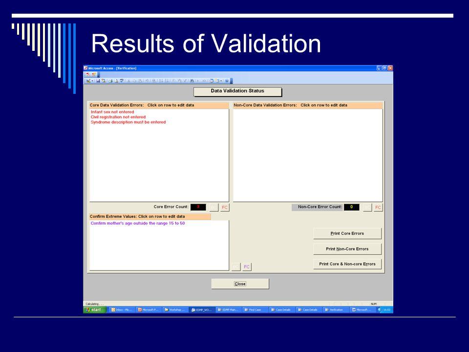 Results of Validation