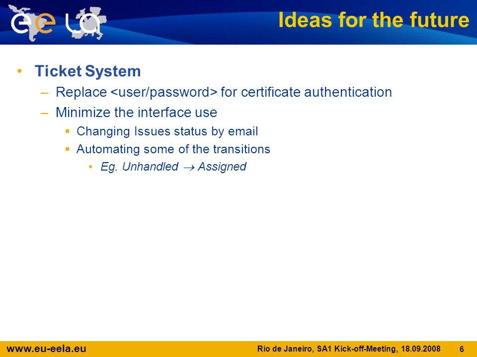 www.eu-eela.eu Rio de Janeiro, SA1 Kick-off-Meeting, 18.09.2008 6 Ideas for the future Ticket System –Replace for certificate authentication –Minimize