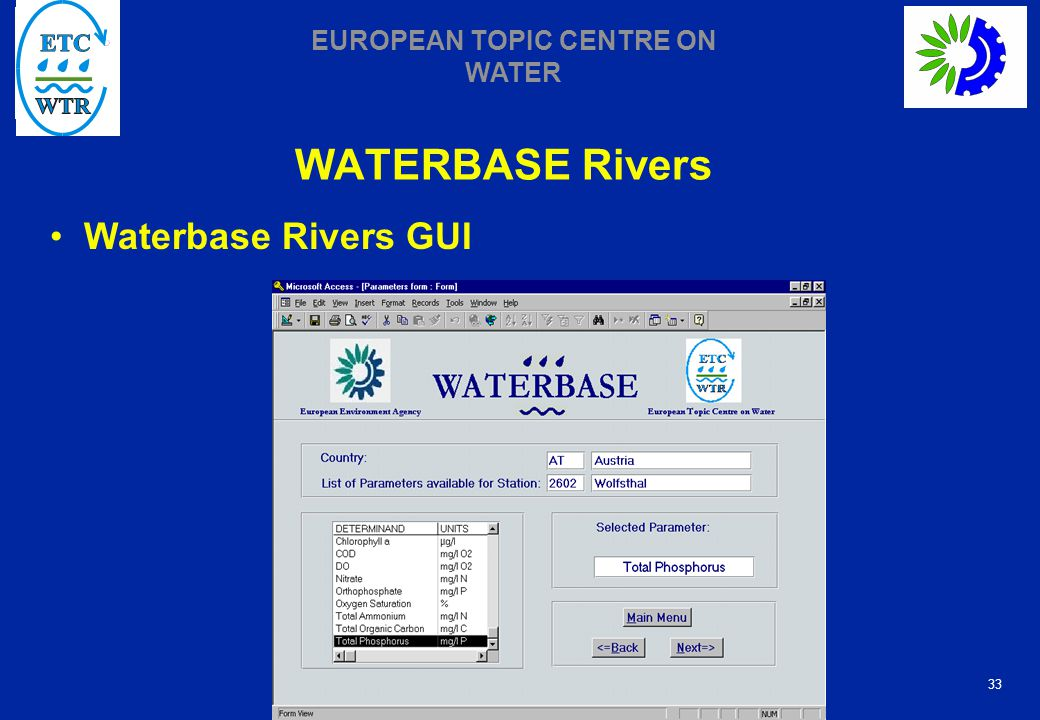 33 EUROPEAN TOPIC CENTRE ON WATER WATERBASE Rivers Waterbase Rivers GUI