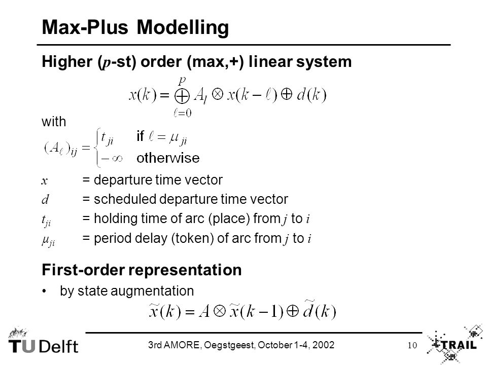 3rd AMORE, Oegstgeest, October 1-4, 2002 10 Max-Plus Modelling Higher ( p -st) order (max,+) linear system with x = departure time vector d = schedule