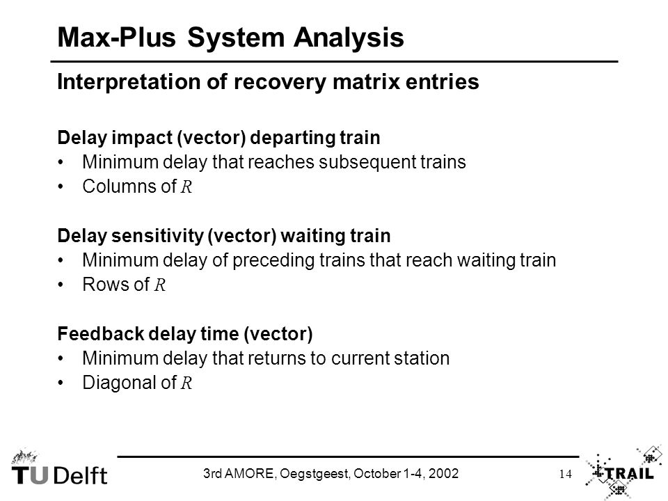 3rd AMORE, Oegstgeest, October 1-4, 2002 14 Max-Plus System Analysis Interpretation of recovery matrix entries Delay impact (vector) departing train Minimum delay that reaches subsequent trains Columns of R Delay sensitivity (vector) waiting train Minimum delay of preceding trains that reach waiting train Rows of R Feedback delay time (vector) Minimum delay that returns to current station Diagonal of R