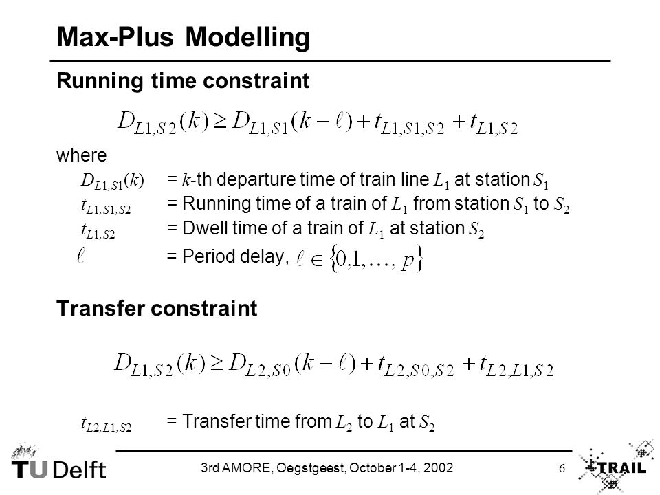 3rd AMORE, Oegstgeest, October 1-4, 2002 6 Max-Plus Modelling Running time constraint where D L1,S1 (k) = k- th departure time of train line L 1 at station S 1 t L1,S1,S2 = Running time of a train of L 1 from station S 1 to S 2 t L1,S2 = Dwell time of a train of L 1 at station S 2 = Period delay, Transfer constraint t L2,L1,S2 = Transfer time from L 2 to L 1 at S 2
