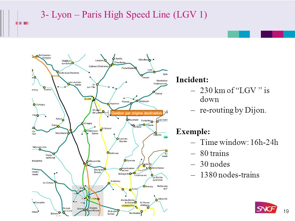 """19 3- Lyon – Paris High Speed Line (LGV 1) 155,1 v.1 Incident: –230 km of """"LGV """" is down –re-routing by Dijon. Exemple: –Time window: 16h-24h –80 trai"""