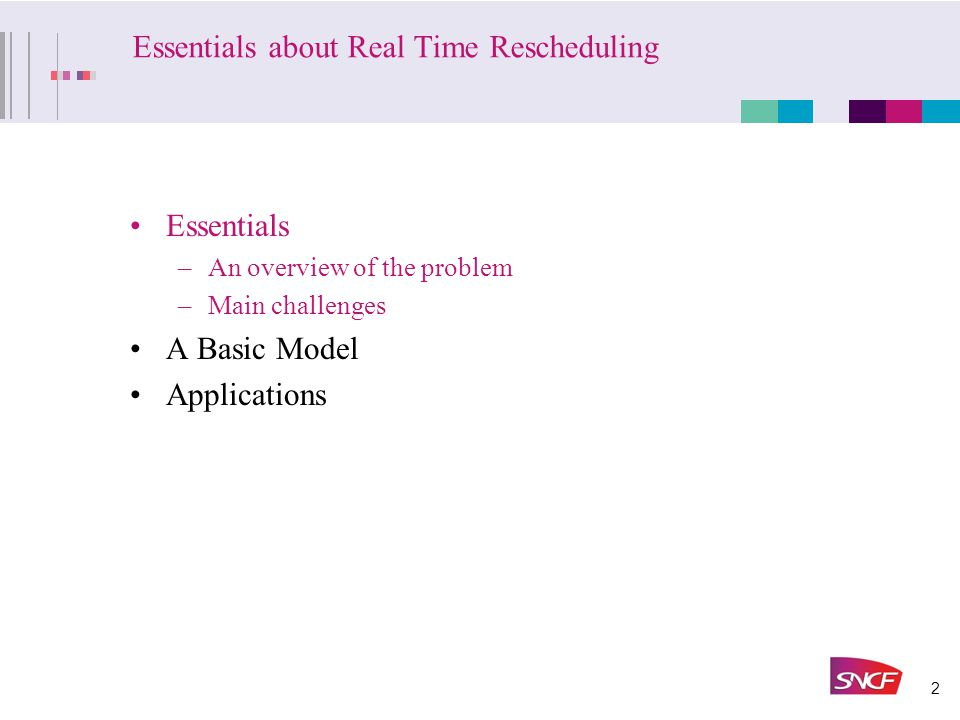 2 Essentials about Real Time Rescheduling Essentials –An overview of the problem –Main challenges A Basic Model Applications