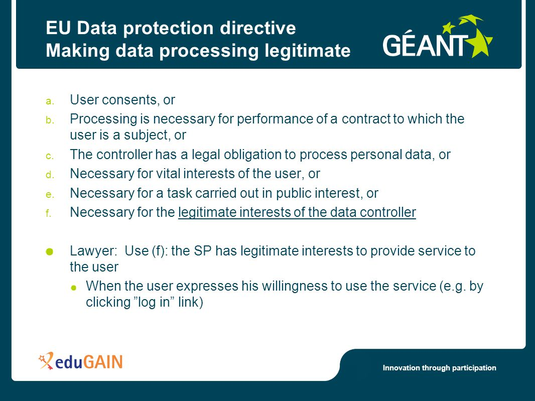 Innovation through participation EU Data protection directive Making data processing legitimate a.
