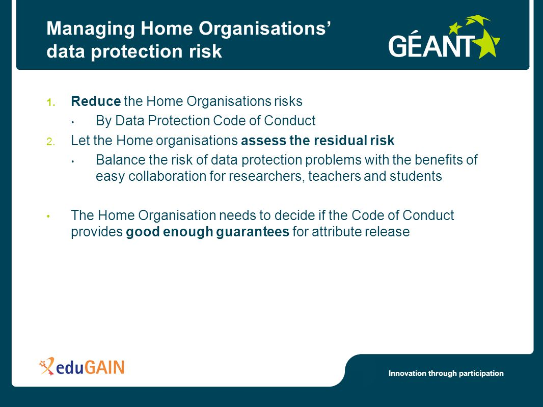 Innovation through participation Managing Home Organisations' data protection risk 1. Reduce the Home Organisations risks By Data Protection Code of C