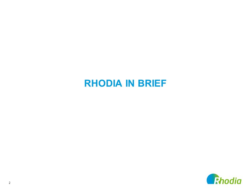 2 RHODIA IN BRIEF