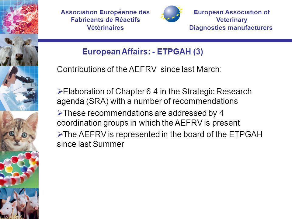 European Association of Veterinary Diagnostics manufacturers Association Européenne des Fabricants de Réactifs Vétérinaires Contributions of the AEFRV
