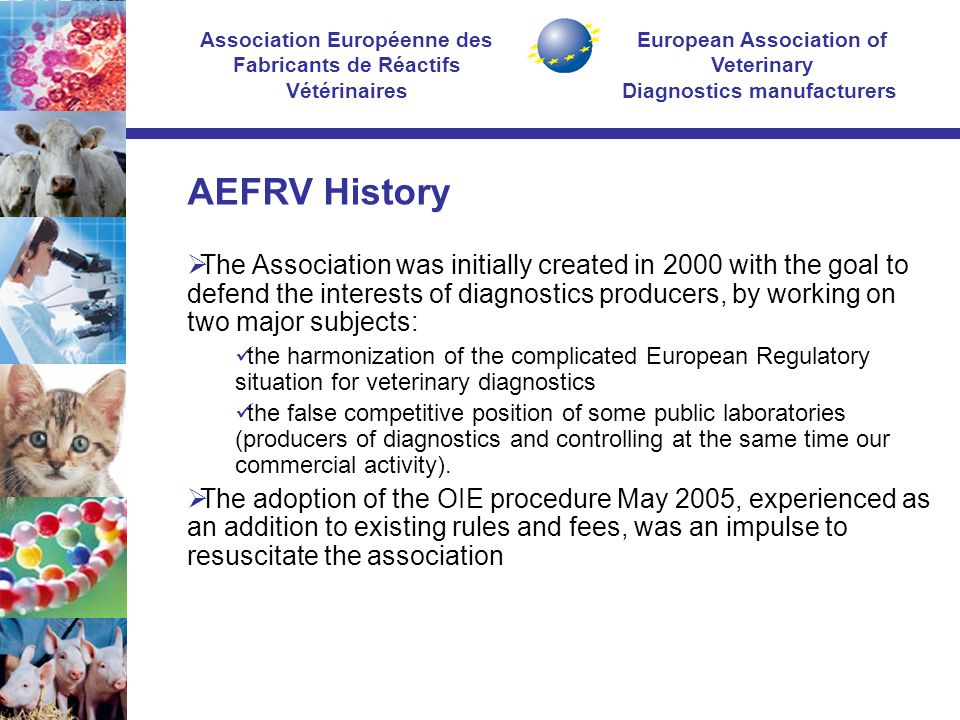 European Association of Veterinary Diagnostics manufacturers Association Européenne des Fabricants de Réactifs Vétérinaires AEFRV History  The Association was initially created in 2000 with the goal to defend the interests of diagnostics producers, by working on two major subjects: the harmonization of the complicated European Regulatory situation for veterinary diagnostics the false competitive position of some public laboratories (producers of diagnostics and controlling at the same time our commercial activity).