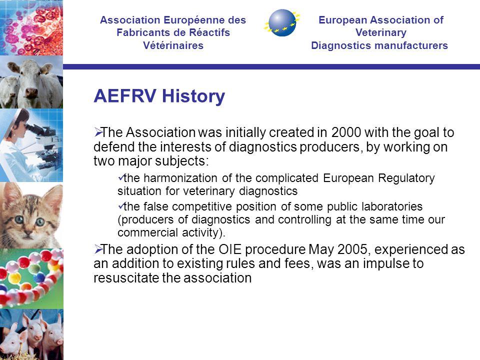 European Association of Veterinary Diagnostics manufacturers Association Européenne des Fabricants de Réactifs Vétérinaires AEFRV History  The Associ
