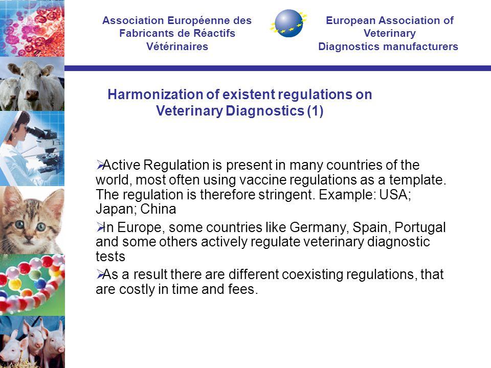 European Association of Veterinary Diagnostics manufacturers Association Européenne des Fabricants de Réactifs Vétérinaires  Active Regulation is present in many countries of the world, most often using vaccine regulations as a template.