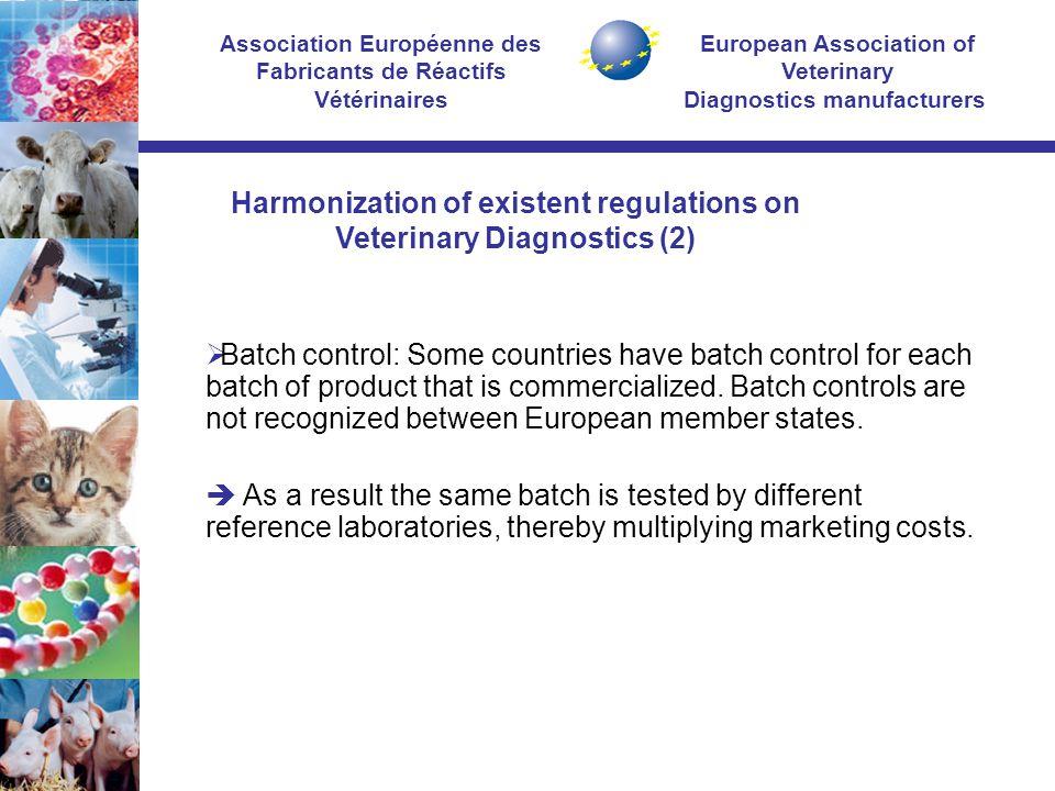 European Association of Veterinary Diagnostics manufacturers Association Européenne des Fabricants de Réactifs Vétérinaires  Batch control: Some countries have batch control for each batch of product that is commercialized.