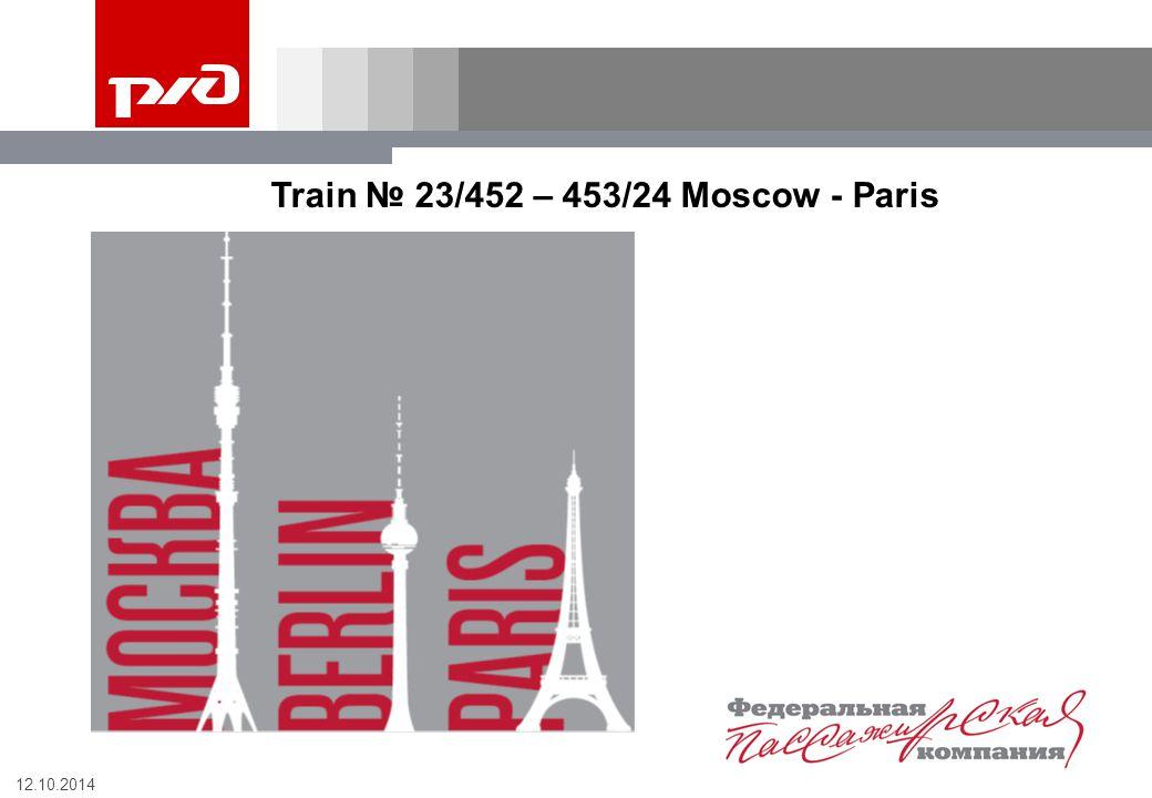 12.10.2014 Train № 23/452 – 453/24 Moscow - Paris