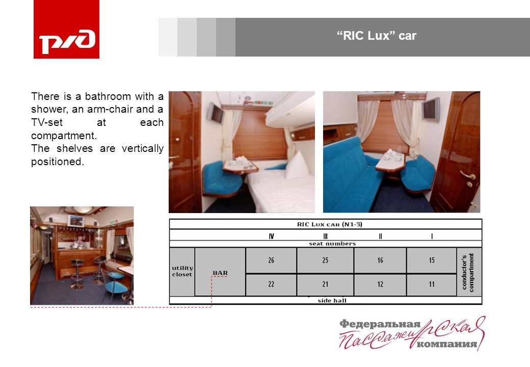 RIC Lux car conductor's compartment There is a bathroom with a shower, an arm-chair and a TV-set at each compartment.