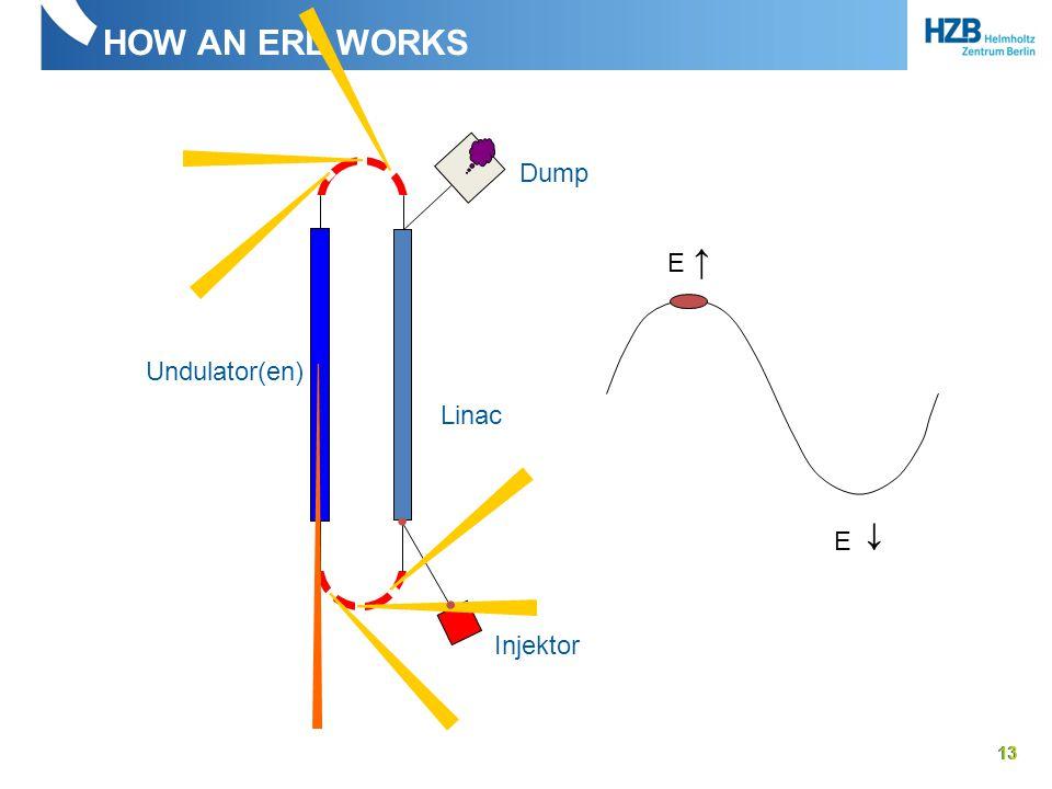HOW AN ERL WORKS 13 Linac Undulator(en) Injektor Dump E ↑ E ↓