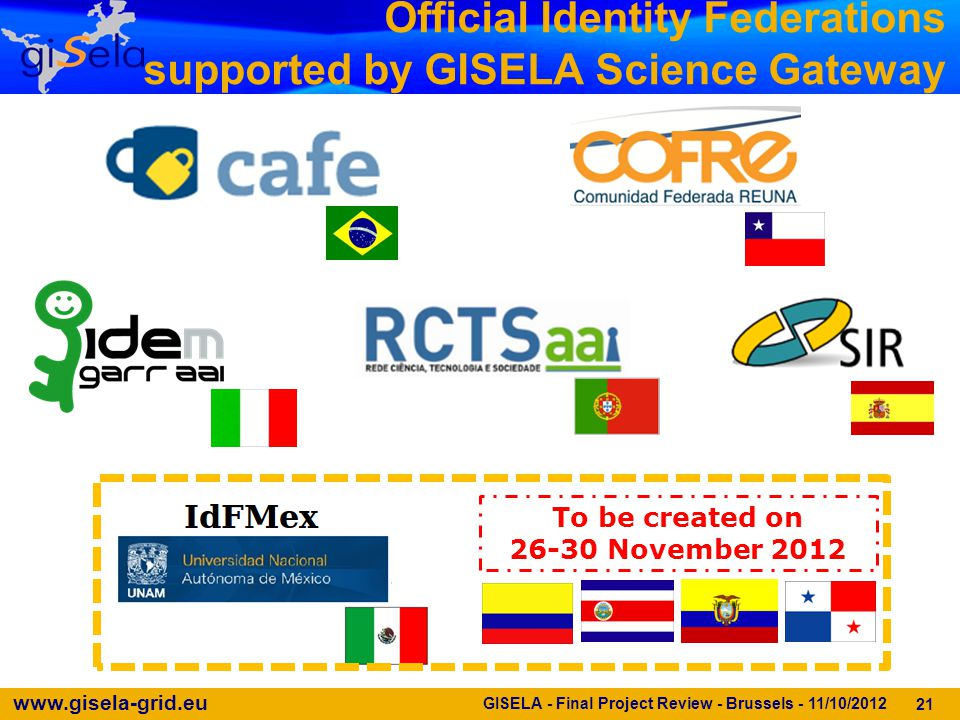 www.gisela-grid.eu Official Identity Federations supported by GISELA Science Gateway 21 To be created on 26-30 November 2012 GISELA - Final Project Re