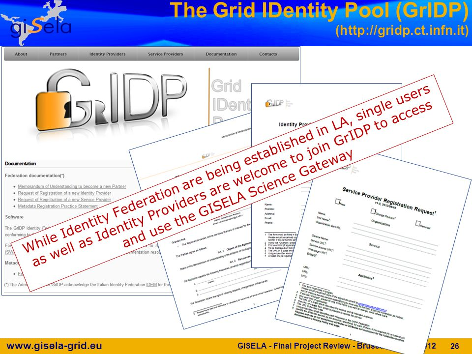 www.gisela-grid.eu GISELA - Final Project Review - Brussels - 11/10/2012 The Grid IDentity Pool (GrIDP) (http://gridp.ct.infn.it) 26 While Identity Federation are being established in LA, single users as well as Identity Providers are welcome to join GrIDP to access and use the GISELA Science Gateway