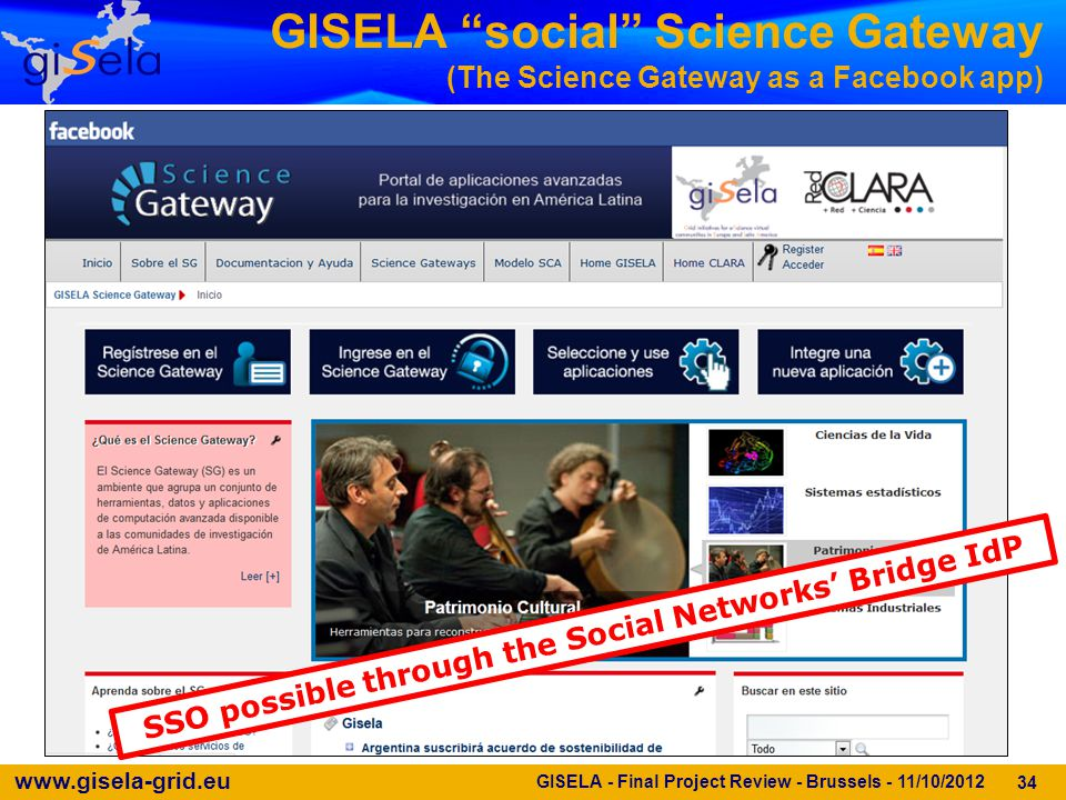 www.gisela-grid.eu GISELA social Science Gateway (The Science Gateway as a Facebook app) 34 SSO possible through the Social Networks' Bridge IdP GISELA - Final Project Review - Brussels - 11/10/2012