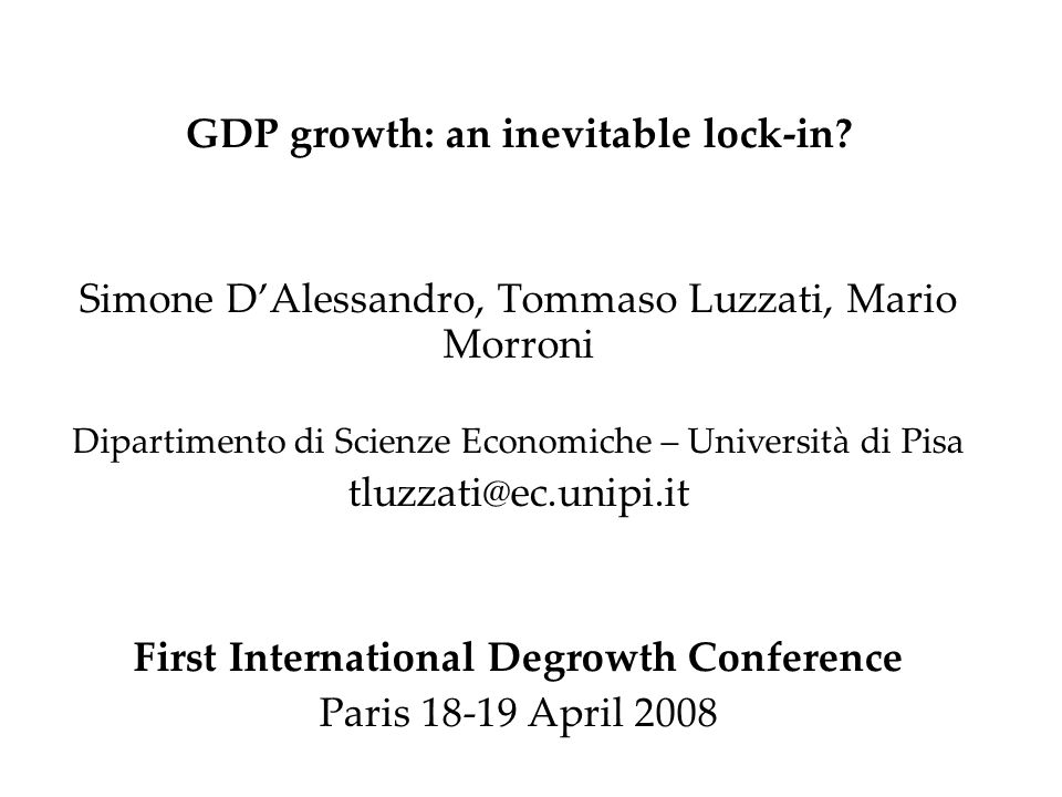GDP growth: an inevitable lock-in.