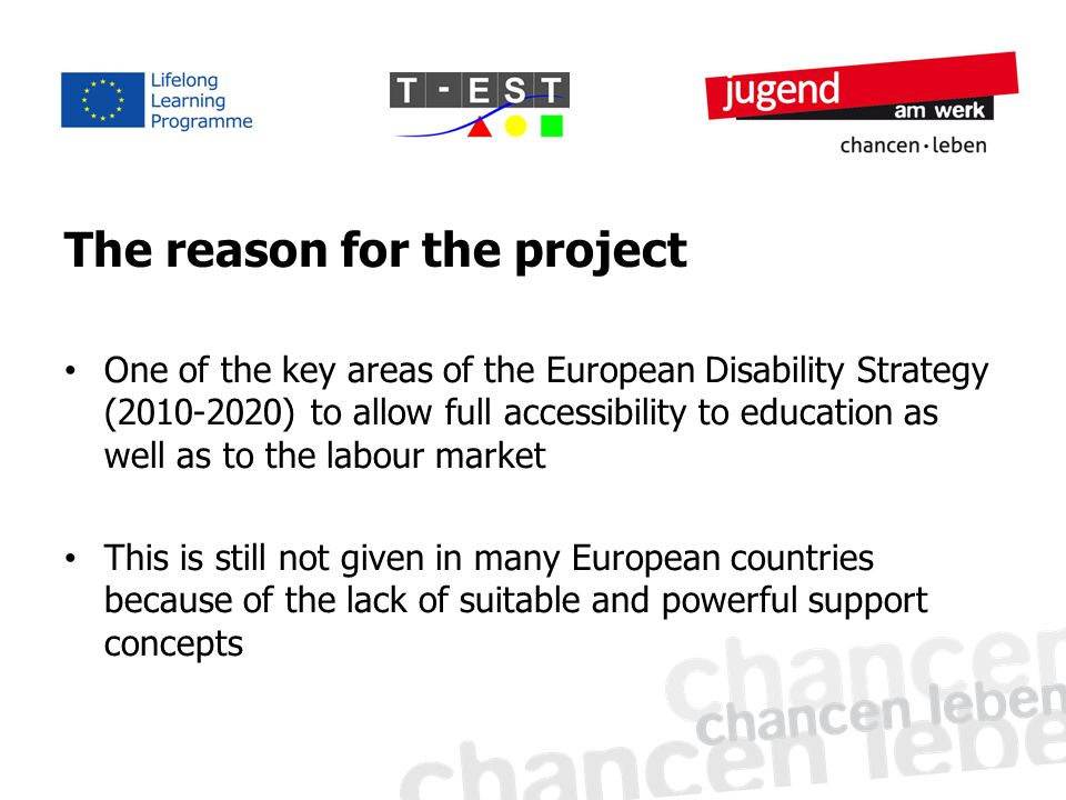 The reason for the project One of the key areas of the European Disability Strategy (2010-2020) to allow full accessibility to education as well as to