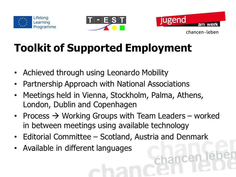 Toolkit of Supported Employment Achieved through using Leonardo Mobility Partnership Approach with National Associations Meetings held in Vienna, Stockholm, Palma, Athens, London, Dublin and Copenhagen Process  Working Groups with Team Leaders – worked in between meetings using available technology Editorial Committee – Scotland, Austria and Denmark Available in different languages