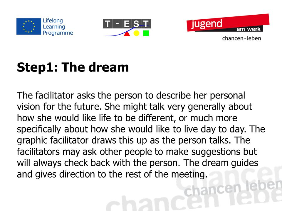 Step1: The dream The facilitator asks the person to describe her personal vision for the future.