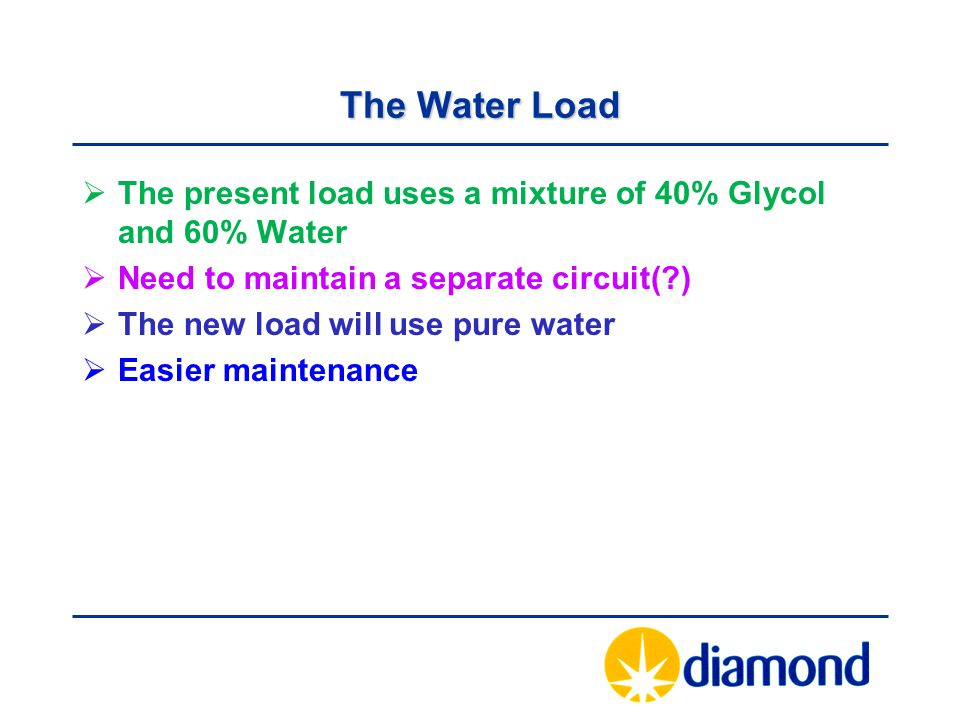 The Water Load  The present load uses a mixture of 40% Glycol and 60% Water  Need to maintain a separate circuit(?)  The new load will use pure wat