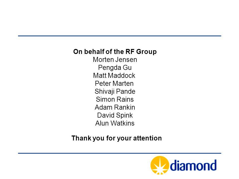 On behalf of the RF Group Morten Jensen Pengda Gu Matt Maddock Peter Marten Shivaji Pande Simon Rains Adam Rankin David Spink Alun Watkins Thank you f