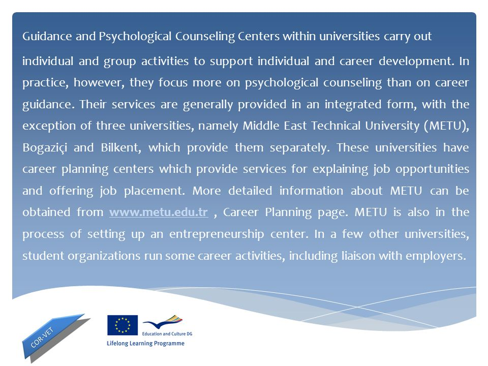 Guidance and Psychological Counseling Centers within universities carry out individual and group activities to support individual and career developme