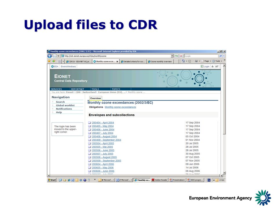 Upload files to CDR