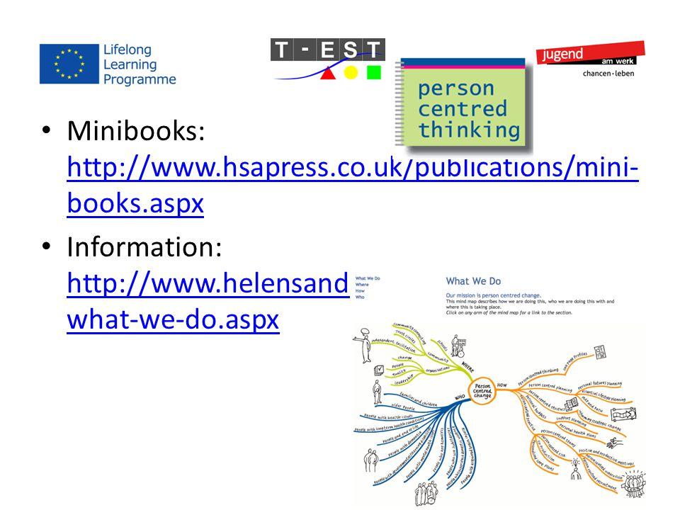 Minibooks: http://www.hsapress.co.uk/publications/mini- books.aspx http://www.hsapress.co.uk/publications/mini- books.aspx Information: http://www.helensandersonassociates.co.uk/ what-we-do.aspx http://www.helensandersonassociates.co.uk/ what-we-do.aspx