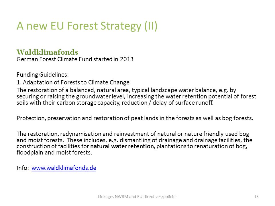 A new EU Forest Strategy (II) Waldklimafonds German Forest Climate Fund started in 2013 Funding Guidelines: 1. Adaptation of Forests to Climate Change