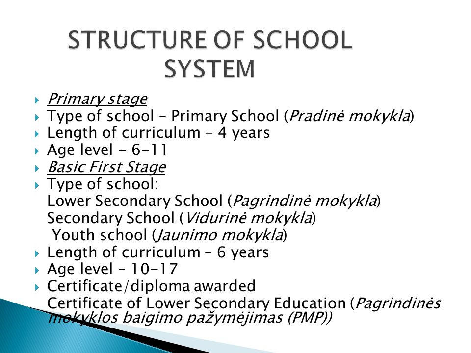 Primary stage  Type of school – Primary School (Pradinė mokykla)  Length of curriculum - 4 years  Age level - 6-11  Basic First Stage  Type of school: Lower Secondary School (Pagrindinė mokykla) Secondary School (Vidurinė mokykla) Youth school (Jaunimo mokykla)  Length of curriculum – 6 years  Age level – 10-17  Certificate/diploma awarded Certificate of Lower Secondary Education (Pagrindinės mokyklos baigimo pažymėjimas (PMP))