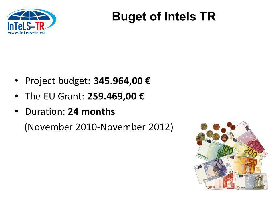 Project budget: 345.964,00 € The EU Grant: 259.469,00 € Duration: 24 months (November 2010-November 2012) Buget of Intels TR
