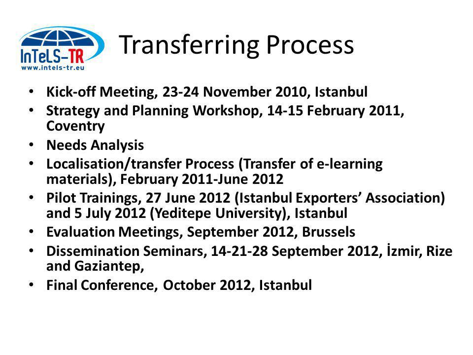 Transferring Process Kick-off Meeting, 23-24 November 2010, Istanbul Strategy and Planning Workshop, 14-15 February 2011, Coventry Needs Analysis Localisation/transfer Process (Transfer of e-learning materials), February 2011-June 2012 Pilot Trainings, 27 June 2012 (Istanbul Exporters' Association) and 5 July 2012 (Yeditepe University), Istanbul Evaluation Meetings, September 2012, Brussels Dissemination Seminars, 14-21-28 September 2012, İzmir, Rize and Gaziantep, Final Conference, October 2012, Istanbul