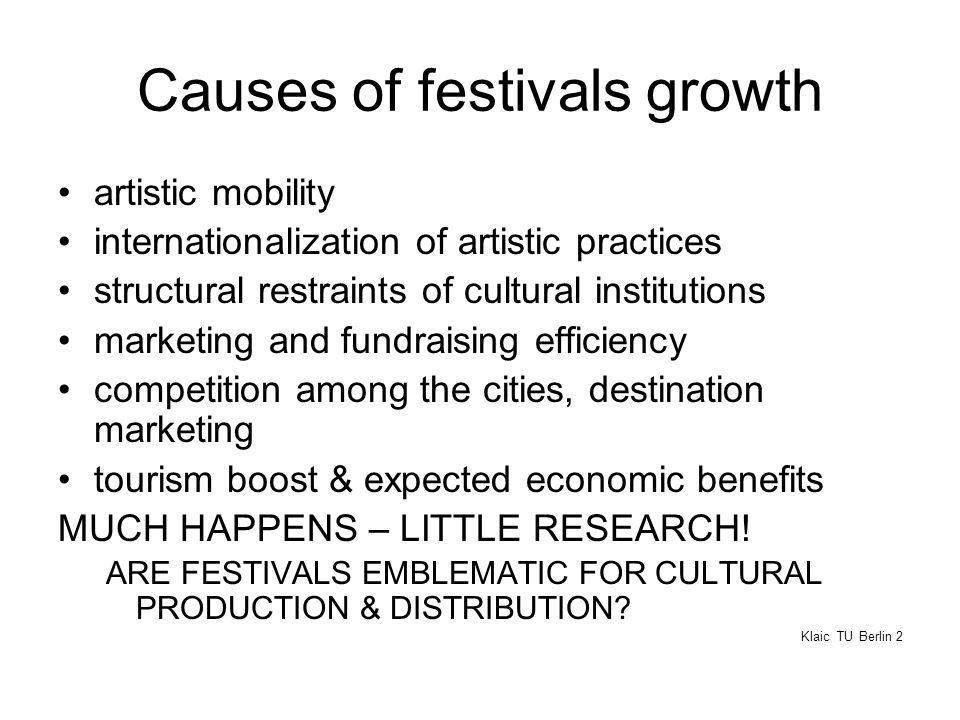 Causes of festivals growth artistic mobility internationalization of artistic practices structural restraints of cultural institutions marketing and fundraising efficiency competition among the cities, destination marketing tourism boost & expected economic benefits MUCH HAPPENS – LITTLE RESEARCH.