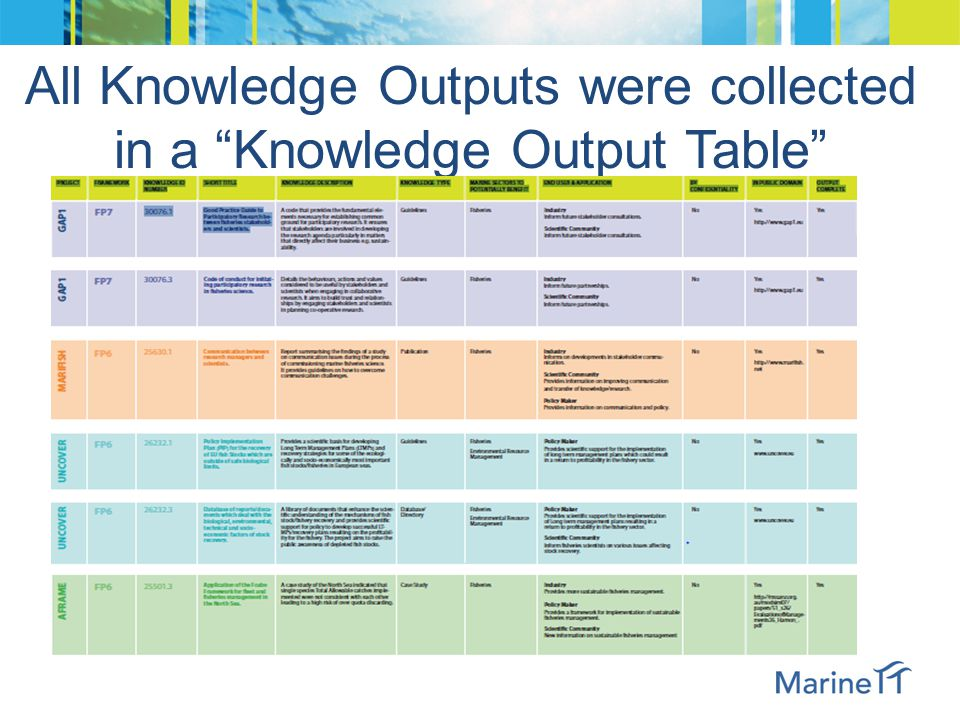"All Knowledge Outputs were collected in a ""Knowledge Output Table"""