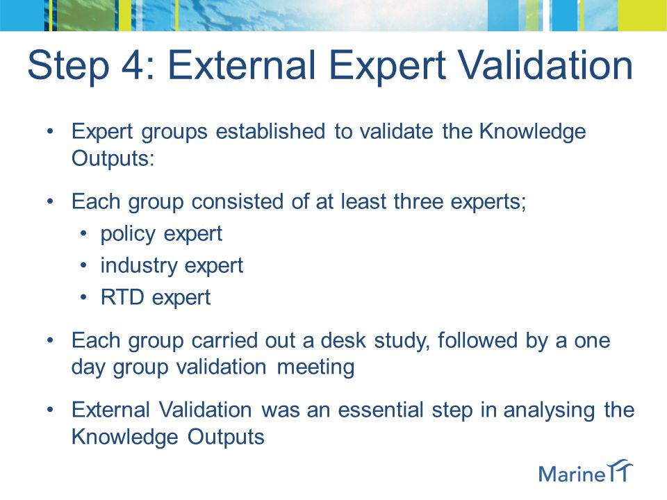 Step 4: External Expert Validation Expert groups established to validate the Knowledge Outputs: Each group consisted of at least three experts; policy