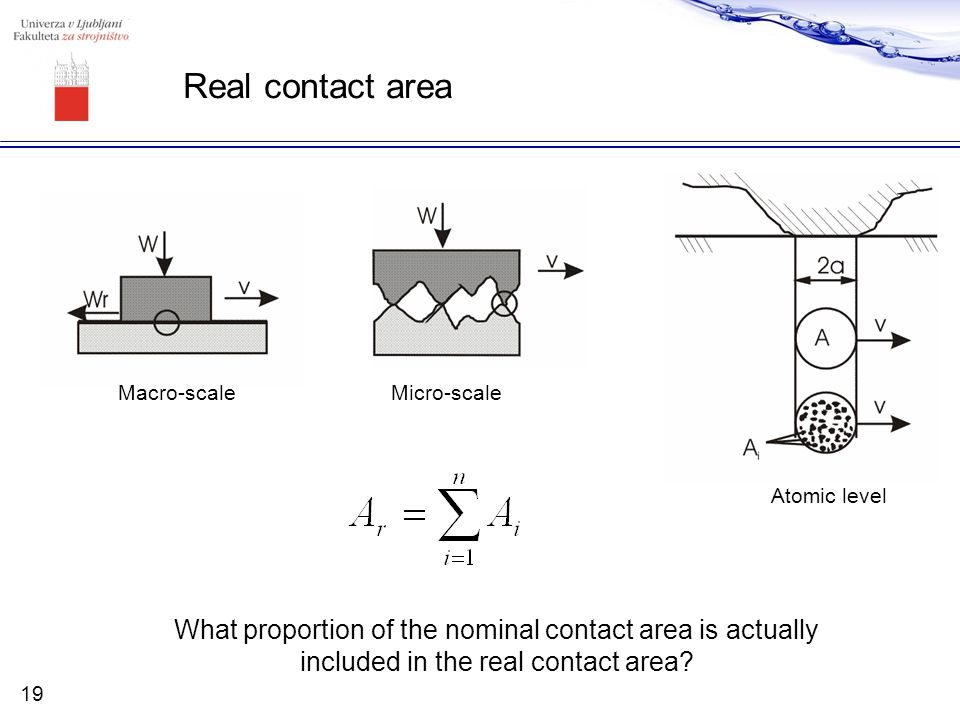 Real contact area Micro-scale Atomic level What proportion of the nominal contact area is actually included in the real contact area? Macro-scale 19
