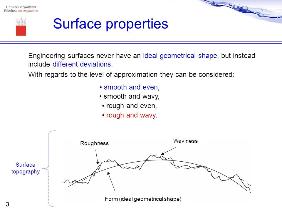 Surface properties Engineering surfaces never have an ideal geometrical shape, but instead include different deviations. With regards to the level of