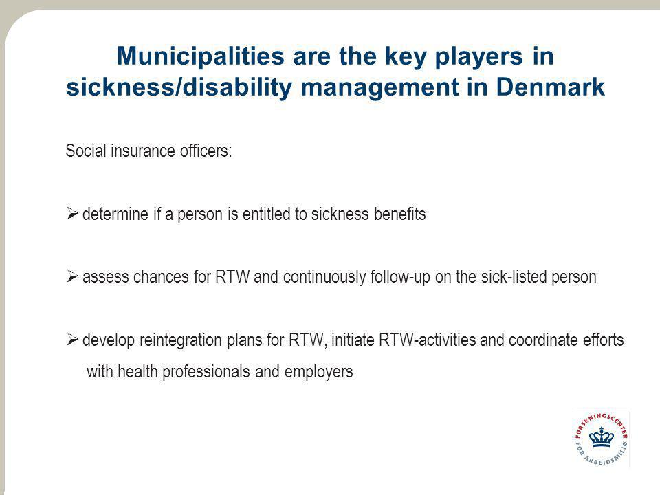 Municipalities are the key players in sickness/disability management in Denmark Social insurance officers:  determine if a person is entitled to sick