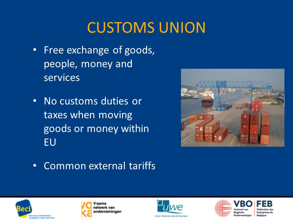 CUSTOMS UNION Free exchange of goods, people, money and services No customs duties or taxes when moving goods or money within EU Common external tarif