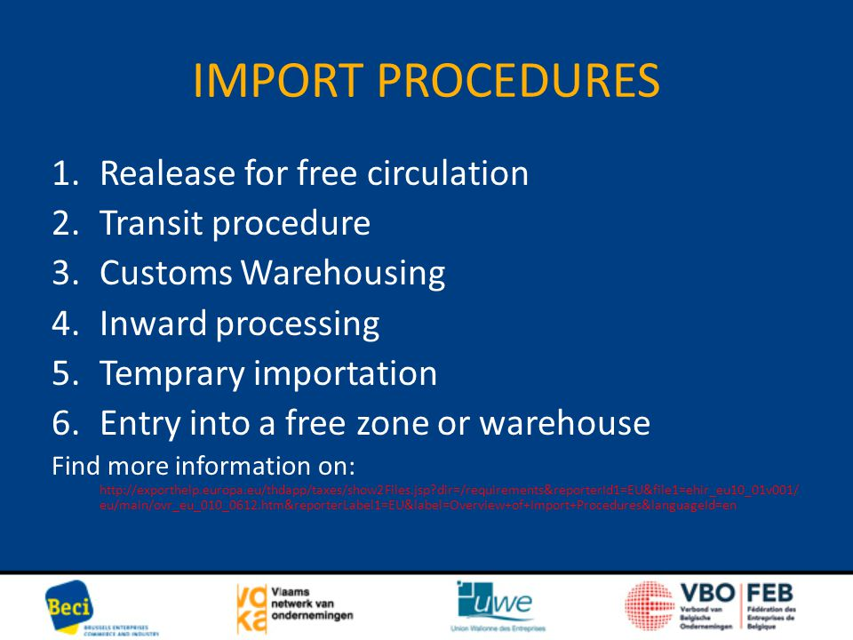 IMPORT PROCEDURES 1.Realease for free circulation 2.Transit procedure 3.Customs Warehousing 4.Inward processing 5.Temprary importation 6.Entry into a