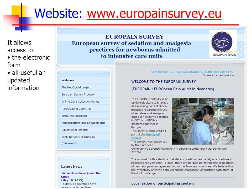 Website: www.europainsurvey.euwww.europainsurvey.eu It allows access to: the electronic form all useful an updated information