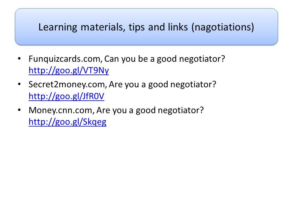 Funquizcards.com, Can you be a good negotiator? http://goo.gl/VT9Ny http://goo.gl/VT9Ny Secret2money.com, Are you a good negotiator? http://goo.gl/JfR