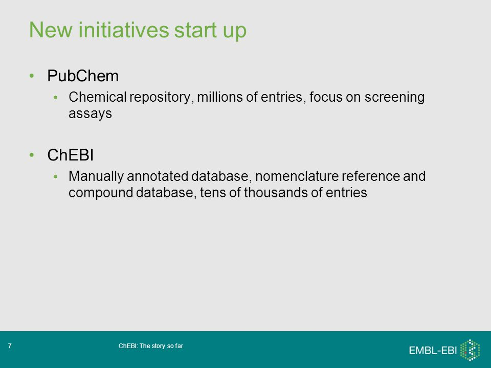 ChEBI: The story so far28 Improvements to data depth Addition of more Xrefs: PDB, MACIE ??.