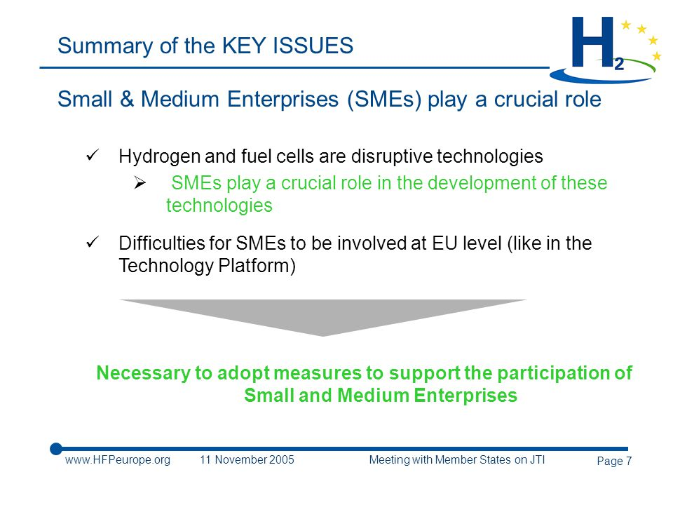 www.HFPeurope.org11 November 2005 Meeting with Member States on JTI Page 7 Summary of the KEY ISSUES Small & Medium Enterprises (SMEs) play a crucial role Hydrogen and fuel cells are disruptive technologies  SMEs play a crucial role in the development of these technologies Difficulties for SMEs to be involved at EU level (like in the Technology Platform) Necessary to adopt measures to support the participation of Small and Medium Enterprises
