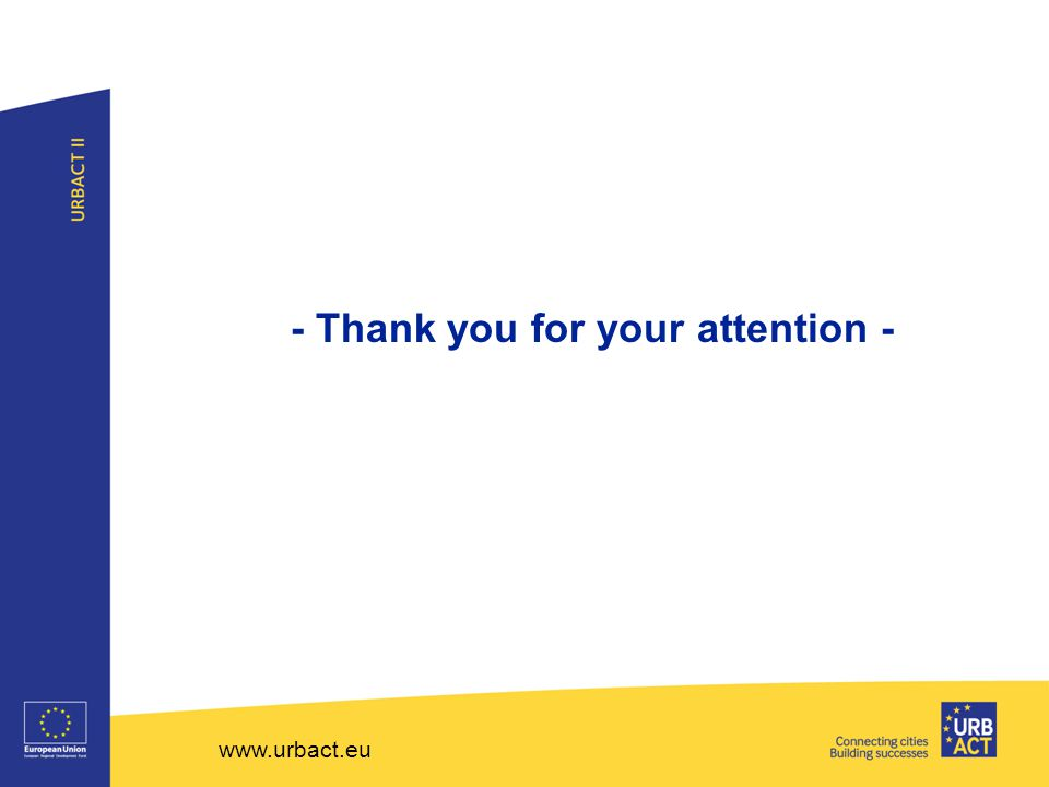 www.urbact.eu - Thank you for your attention -